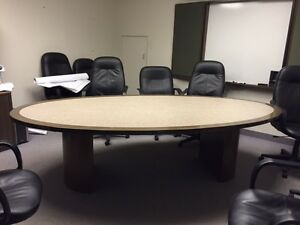 Oval executive boardroom conference table