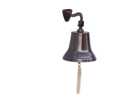 """Copper Finish Solid Aluminum Ships Bell 6"""" x 11"""" Nautical Hanging Wall Decor New"""