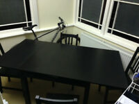 Ikea BJURSTA Extendable Table with 4 chairs and coffee table free of charge