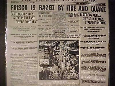 VINTAGE NEWSPAPER HEADLINE ~SAN FRANCISCO CITY EARTHQUAKE & FIRE SHOCK DISASTER~