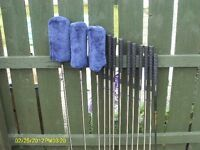 full set of golf clubs and trolley ideal starter set
