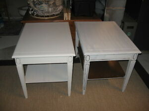2 matching vintage wooden endtables