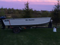 FOR SALE ALUMINUM BOAT MOTOR & TRAILER