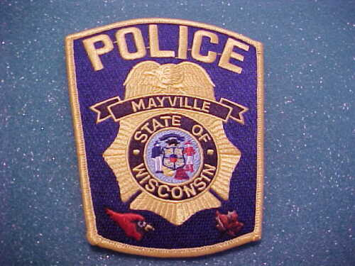 MAYVILLE WISCONSIN POLICE PATCH SHOULDER SIZE UNUSED TYPE 2