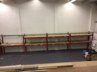Heavy duty racking 2 palletts each bay, 4bays chipboard shelving easy to assemble