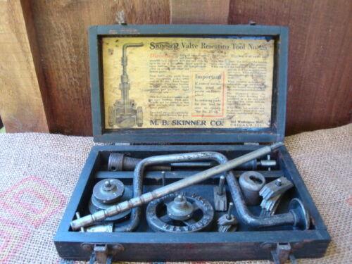 vintage M.B.Skinner valve reseating tool + wooden case