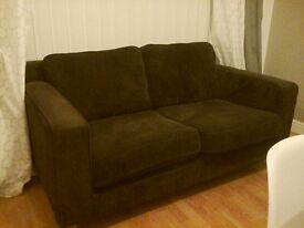 chocolate brown cord two seater sofa. excellent condition. £50