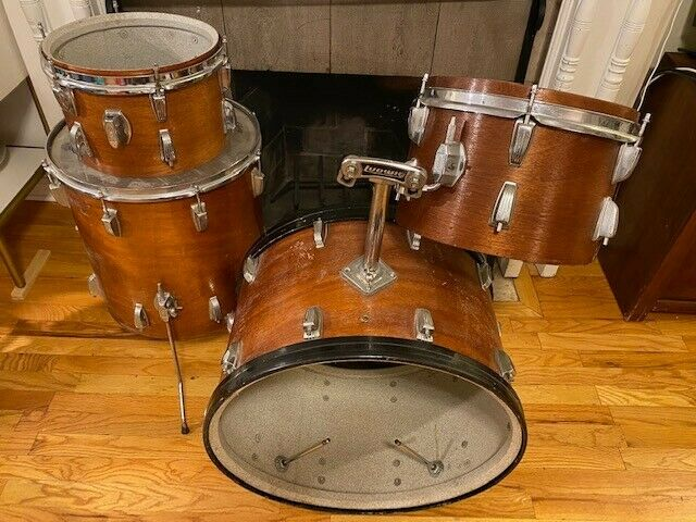 RARE LUDWIG Early 70s four piece Drum Set – READY TO REWRAP!
