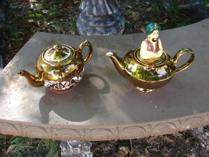 Two x Tea pot wade Handpainted