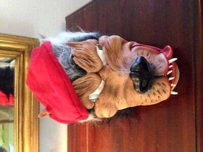 Vintage Halloween Mask Wolf w Red Beret Big Ears Long Snout Fang Teeth Long Hair - Wolf Fangs Halloween