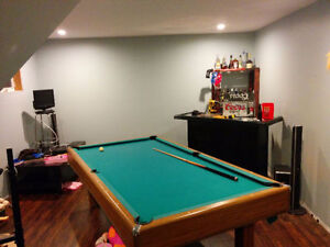 Pool table and accessories.