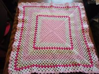 Brand New Crochet Pink Sparkly pet blanket, all proceeds to PDSA