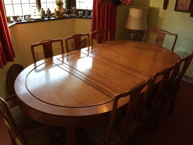 Rosewood Chinese Dining Table 8 Chairs Sideboard And Display Cabinet
