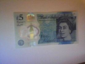 New rare £5 Notes for sale with popular serial numbers