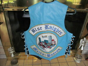 Blue Knights Leather Motorcycle Vest sz 40