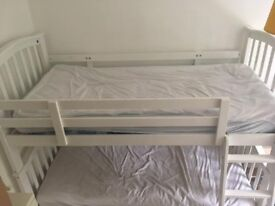 WHITE SOLID HARDWOOD BUNK BEDS AND MATTRESSES, few marks
