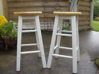 A Pair of Bar Stools White Legs Wood Seat Two Stools Chairs Seats Newthorpe