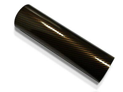 2D Carbon Folie GOLD 152 cm x 200 cm Autofolie hochglänzend mit Luftkanäle