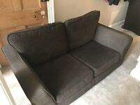 2 Seater sofa and armchair. Brown fabric, good condition, 5 years old. collection only