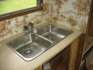 RV double kitchen sink and taps