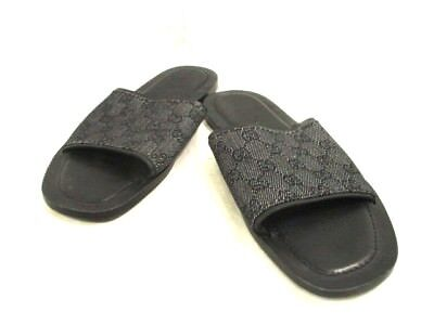 Auth GUCCI GG Black White Jacquard & Leather Sandals  #41(US#8.5)