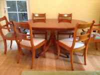 Yew Wood Dining Room Table & 6 Chairs