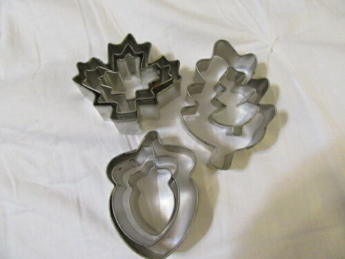 Vtg Set 8 Thanksgiving / Fall Metal Cookie Cutters~Oak & Maple Leaves & Acorns