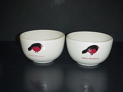 Christmas Cut Outs Bowls Merry Christmas Holiday Birds White Sticker Label