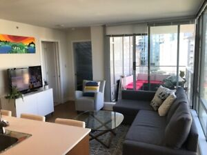 $2200 bright one bedroom + den with large patio @ Davie/Seymour