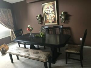 Black Stained Solid Wood Table,  5 Chairs &  Bench