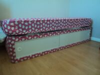 Single childs bed with under cupboard storage,