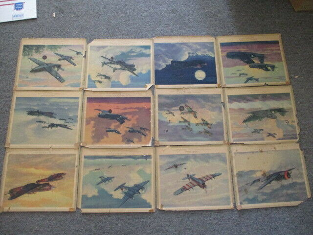 Vintage Signed, Unframed 1944 WWII Fighter Plane Prints, Complete Set of 12