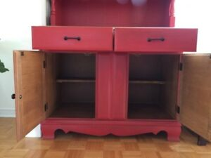 Red wood cabinet (hutch and cabinet)