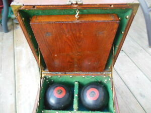 antique lawn bowling bowls/balls in antique wooden box London Ontario image 2