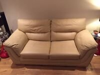 DFS 2 Seater Sofa bed, Cream Leather