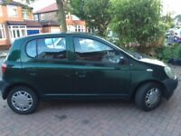 Toyota Yaris, green, petrol 1.0, 5 doors, extremely reliable, MOT until June 2019