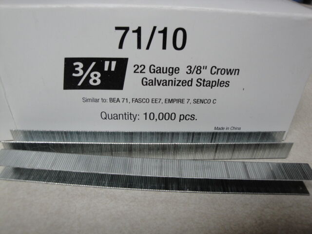 "Standard Upholstery Staples 71 Series 3/8"" Crown 3/8"" Leg Galvanized 22 Gauge"