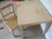 toddler pine table and chair