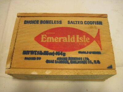 OLD WOOD EMERALD CHOICE BONELESS SALTED CODFISH CRATE BOX