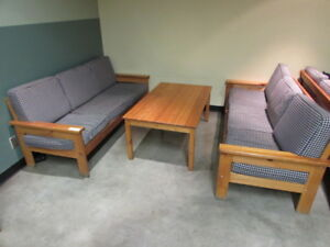 Solid Wood Living Room Set (2 Couches and Coffee Table)
