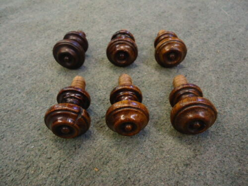 6  Victorian Hardwood Drawer Knobs