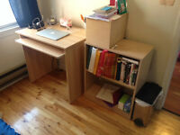 small ikea desk and bookcase