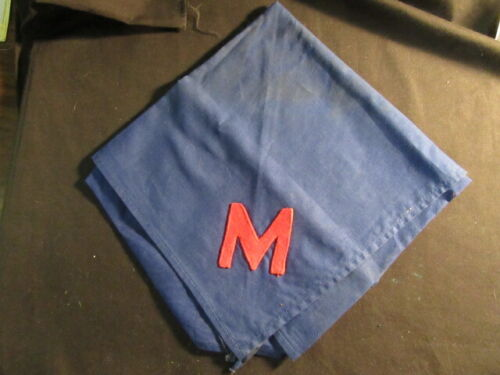 Red Felt M on Blue Triangular Neckerchief, Unknown Source      TH5