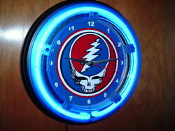 Grateful Dead Deadhead Concert Bar Man Cave Blue Neon Wall Clock Sign