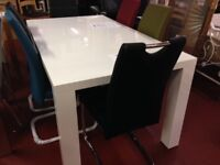 New White gloss Dining table with 4 chairs Only £349 in stock