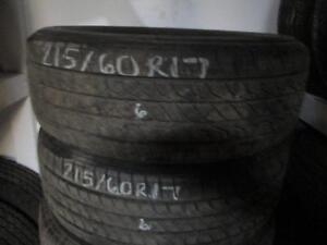 215/60R17 PAIR OF 2 ONLY MATCHING USED TOYO A/S TIRES