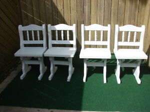 x solid wood chairs