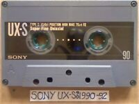 A2Z RARE SONY UX-S 90 SUPER FINE UNIAXIAL CHROME GUARANTEED CASSETTE TAPES 1990-92 W/ CCL's & FREP&P