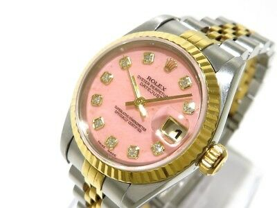 Auth ROLEX Datejust 79173OPG Pink Silver 18K Yellow Gold F180406