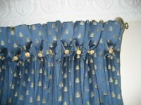 A PAIR OF EXCELLENT QUALITY, INTERLINED BLUE CURTAINS